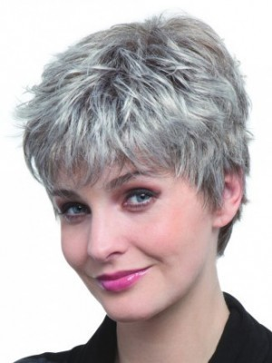 Capless Pixie Style Synthetic Gray Wig