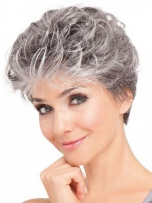 Synthetic Soft Wavy Front Lace Gray Wig