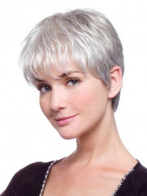 Lace Front Short Synthetic Straight Gray Wig