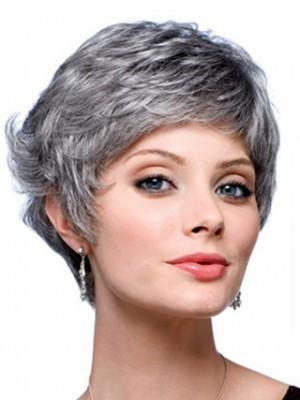 Short Wavy Synthetic Back Gray Wig