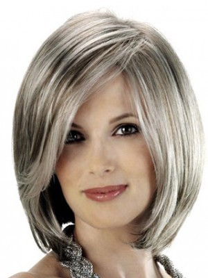 Angled Sides Capless Synthetic Gray Wig