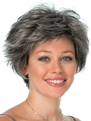 Capless Conservative Look Black Gray Wig