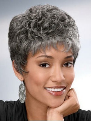 Graceful Wavy Capless Synthetic Gray Wig
