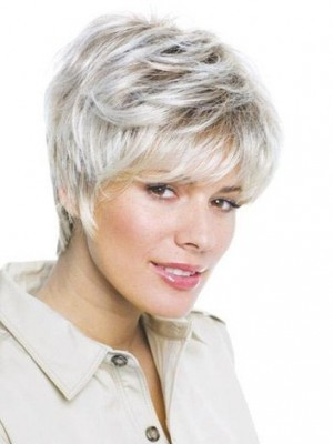 Short Layered Lace Front Straight Gray Wig