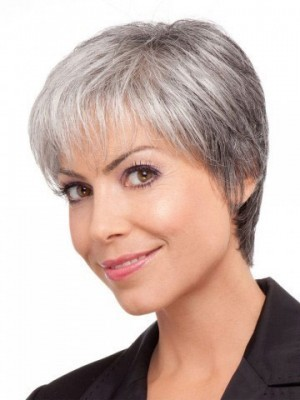 Short Straight Lace Front Gray Wig