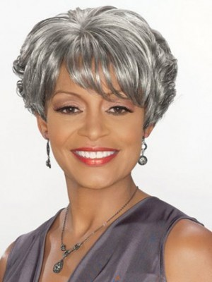 Short Boy Cut Synthetic Gray Wig
