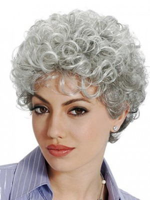Stylish Sophisticated Curly Gray Wig