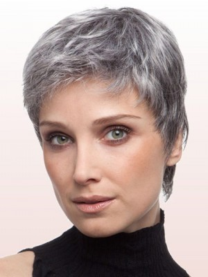 Layered Straight Lace Front Gray Wig