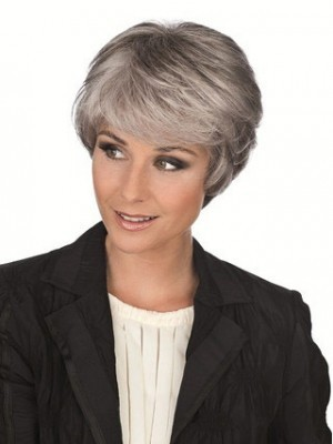 Side Long Fringe Synthetic Capless Gray Wig
