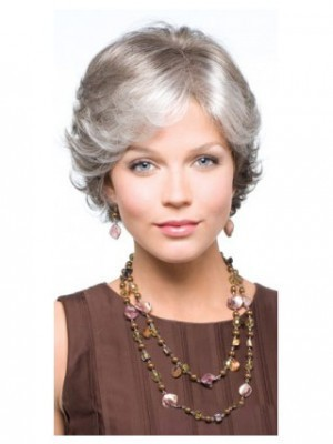 Foxy Silver Synthetic Lace Front Wig Grey Hair Wigs Online Sale