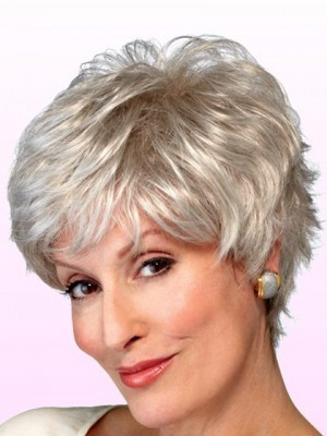 Graceful Shaggy Wavy Synthetic Gray Wig
