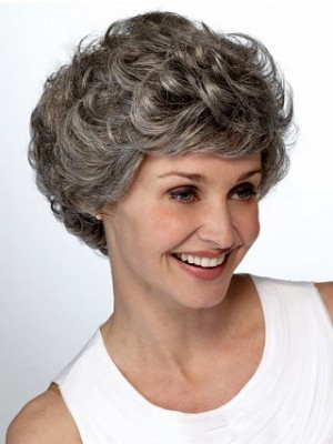 Lace Front Short Wavy Layers Gray Wig