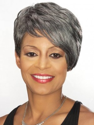 Side Swept Fringe Short Gray Wig