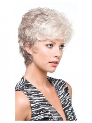 Synthetic Carefree Side Parting Gray Wig