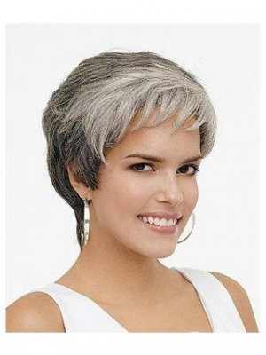 Synthetic Rounded Fringe Wavy Gray Wig