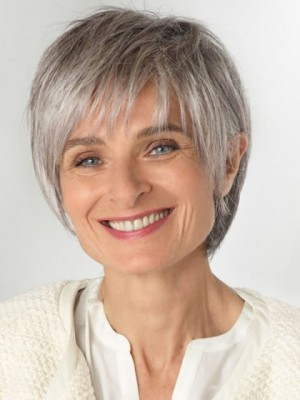 Natural Grey Short Lace Front Synthetic Wig