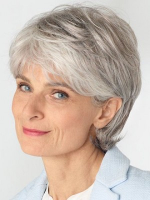 Prodigious Lace Front Grey Wig For Women