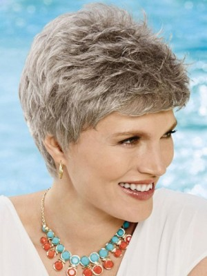 Comfortable Pixie Gray Wig For Woman