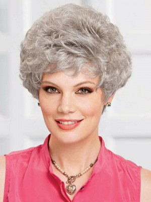 Short Capless Gray Wig With Curly Layers