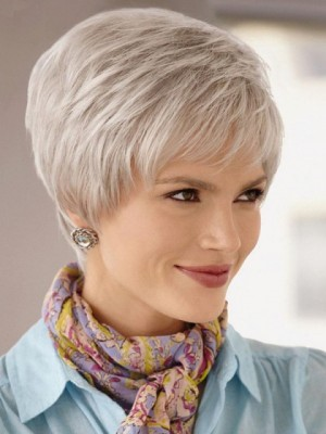 Modern Short Cut Lace Front Gray Wig