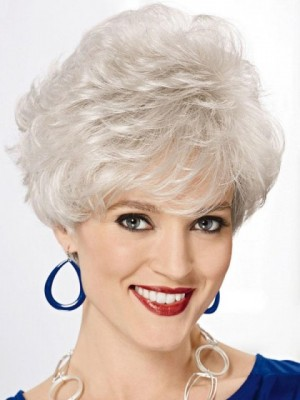 Short Soft Layered Gray Wig