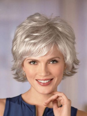Cool Gray Wig With Wispy Layers
