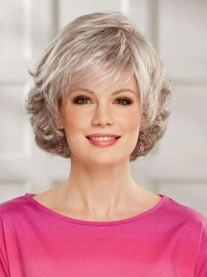 Layered Gray Wig With Pretty Tousled Curls