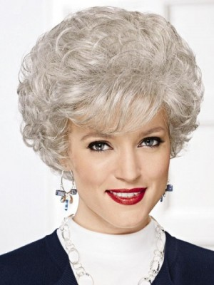 Charming Gray Wig With Wispy Waves And Curls