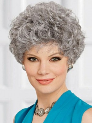 Close-cropped Style Gray Wig With Tapered Waves