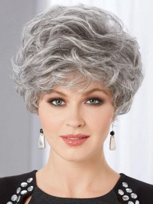 Short Crop Style Gray Wig With Beautifully Layered Curls