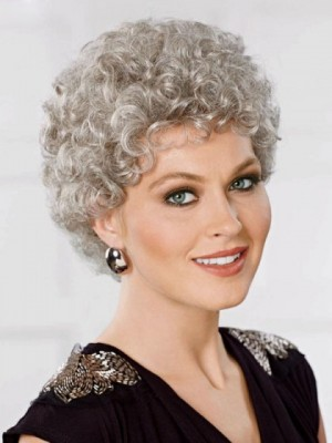 Lightweight Gray Wig With Natural-looking Curls