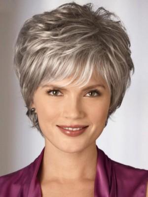 Charming Short Layerd Gray Wig