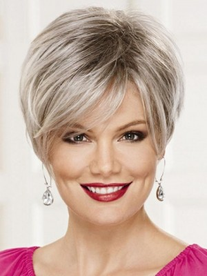 Nice Lace Front Monofilament Gray Wig