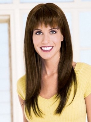 Nice-looking Capless Long Straight Remy Human Hair Wig