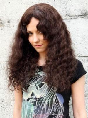 Good Curly Human Hair Capless Long Wig