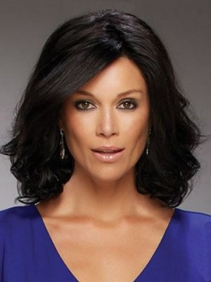 Fashionable Lace Front Wavy Remy Human Hair Wig