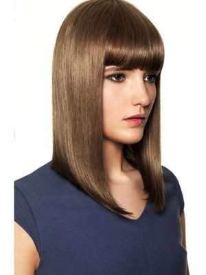 Classic Sleek Straight Shoulder Length Human Hair Wig