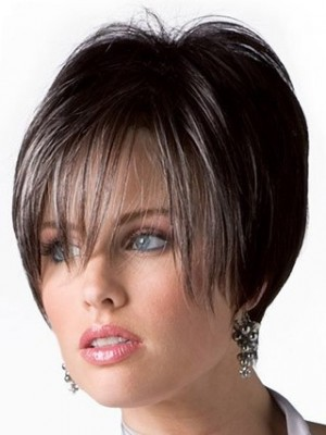 Good Looking Short Human Hair Wig With Long Fringe