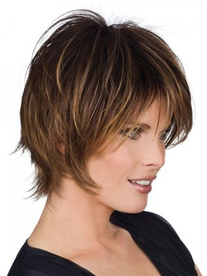 Fine Straight Medium Length Human Hair Wig