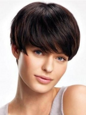 Elegant Gorgeous Human Hair Lace Front Short Straight Wig