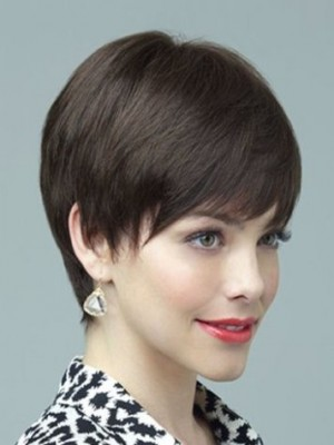 Wonderful Short Capless straight Remy Human Hair Wig