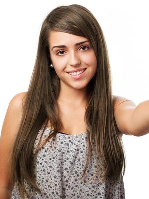 Attractive Lace Front Straight Long Human Hair Wig