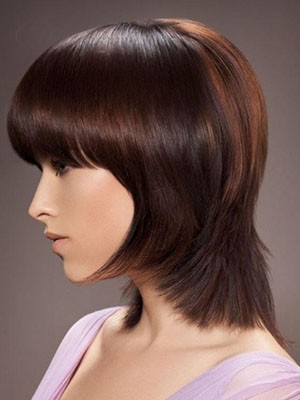 Straight Short Remy Human Hair Capless Wig