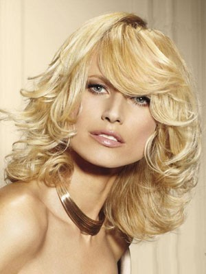 Fabulous Medium Length Human Hair Wavy Capless Wig