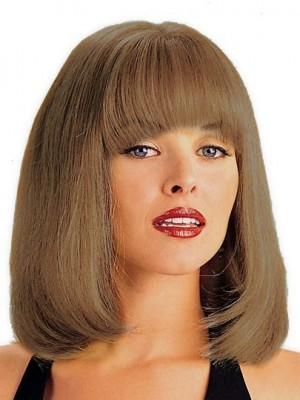 Romantic Shoulder-Length Lace Front with Mono Human Hair Wig