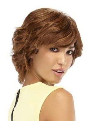 Marvelous Short Shag Mono Top Human Hair Wavy Wig