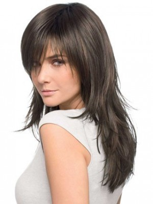 Wonderful Long Textured Layered Front Lace Human Hair Wig