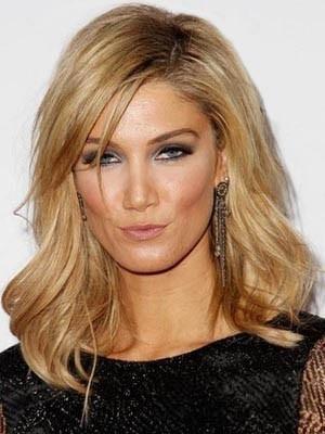 Elegant Lace Front Medium Length Wavy Human Hair Wig