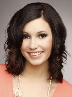 "Pretty 14"" Wavy Lace Front Human Hair Wig"