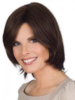 Chic Lace Front Remy Human Hair Wig With Side Swept Fringe
